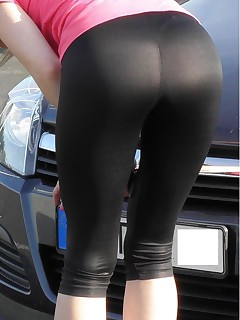 Sexy sluts dressed, teasing and stripping in tight, shiny and sexy spandex.