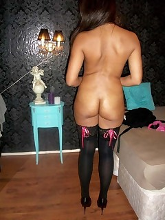 Naughty women and big arse housewives posing exposed and showing their taut dilettante booties and pussies.